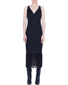 Akris punto Jersey Fringed-Hem Midi Dress