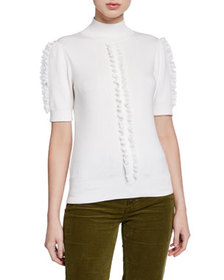 See by Chloe Short-Sleeve Knit Top with Ruffle Tri