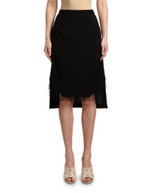 No. 21 Cool Wool Pencil Skirt with Lace Hem