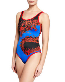 Balmain Dragon-Print Scoop-Back One-Piece Swimsuit