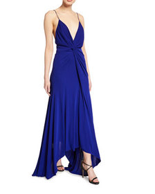 Galvan Knotted Deep-V Jersey Dress