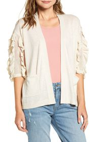 RACHEL PARCELL Ruffle Sleeve Cardigan Sweater