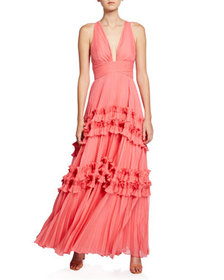 Halston V-Neck Sleeveless Pleated Gown with Smocke