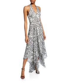 Halston Sleeveless Printed Halter Gown with Handke