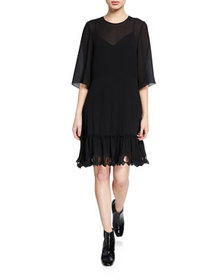 See by Chloe Scalloped 3/4-Sleeve Shift Dress