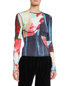 Thierry Mugler Printed Jersey Long-Sleeve T-Shirt