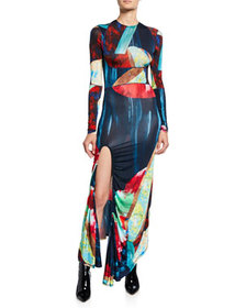 Thierry Mugler Abstract Multicolor Jersey Maxi Dre