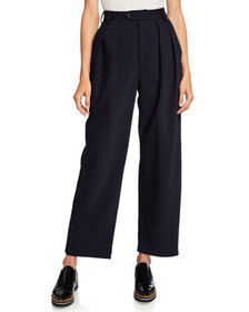 Deveaux New York Isabella Pleated Bonded Wool Pant