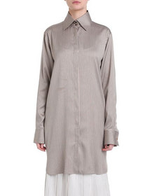 Fendi Pinstriped Silk Twill Long Shirt