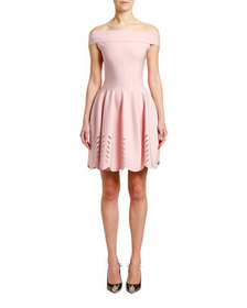 Alexander McQueen Off-the-Shoulder Knit Tulip Dres