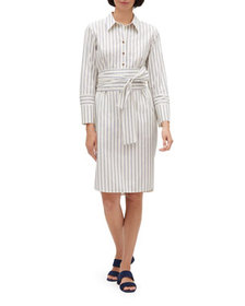 Lafayette 148 New York Fabiola Striped Shirtdress