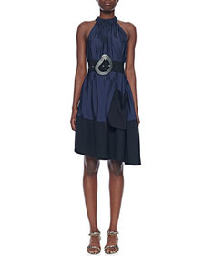 Tibi Draped Asymmetrical Sleeveless Dress with Bel