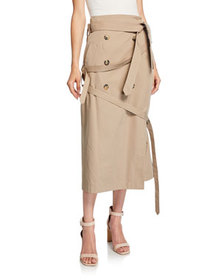 Rokh Wrapped Belted Trench Skirt