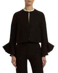 Valentino Long-Sleeve Bell-Cuff Crepe Couture Jack