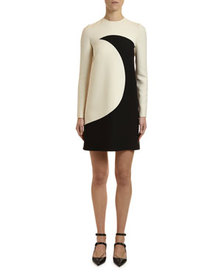 Valentino Long-Sleeve Moon-Print Crepe Couture Dre