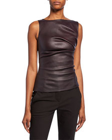 Narciso Rodriguez Leather Ruched Boat-Neck Top