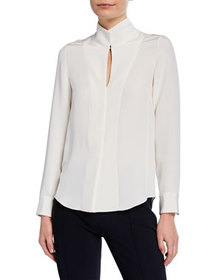 Adam Lippes Fitted Stand-Collar Silk-Crepe Blouse