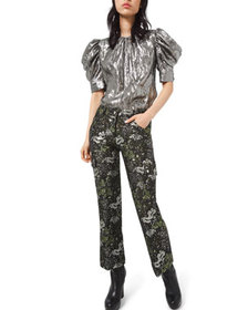 Michael Kors Collection Floral-Brocade Cargo Flare