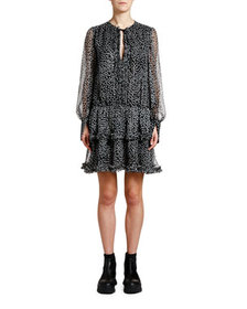 Stella McCartney Metallic-Dotted Tie-Neck Boho Dre