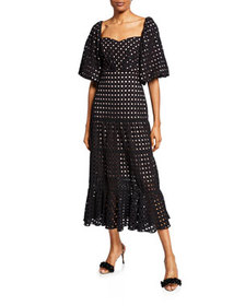 Johanna Ortiz Eyelet Embroidered Sweetheart-Neck D