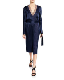 Dion Lee Lace-Trim Belted Wrap Dress