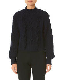 Carolina Herrera Hand-Fringed Cable-Knit Sweater