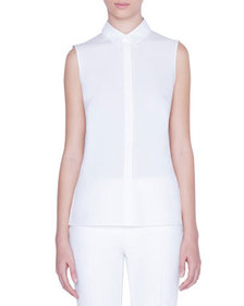 Akris punto Sleeveless Button-Front Shirt with Emb