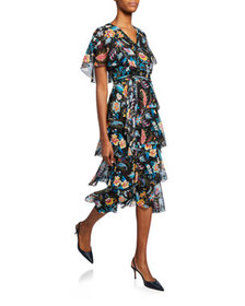 Etro Fern Floral Tiered Ruffle Dress