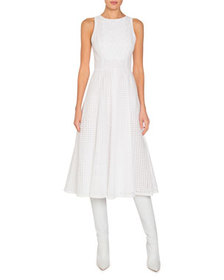 Andrew Gn Eyelet Sleeveless Midi Fit-&-Flare Dress