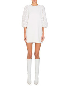 Andrew Gn Lace Puff-Sleeve Shift Dress