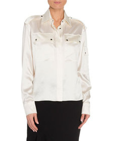 TOM FORD Silk Sheer-Back Oversized Blouse