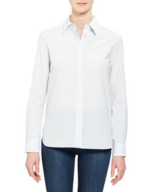 Theory Button-Front Long-Sleeve Straight Cotton Sh