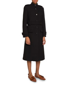 Chloe High-Neck Belted Button-Front Coat