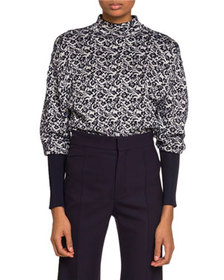 Chloe Chenille-Jacquard Mock-Neck Sweater