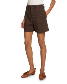 Chloe Checked Wool Shorts