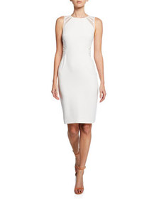 Halston Sleeveless High-Neck Dress with Lace Strip