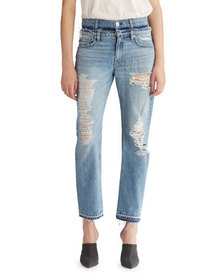 Hudson Jessi Relaxed Cropped Jeans with Destructio