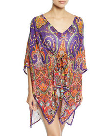 Etro Printed V-Neck Coverup Caftan