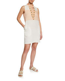 Tory Burch Colorblock Embroidered Sleeveless Tunic
