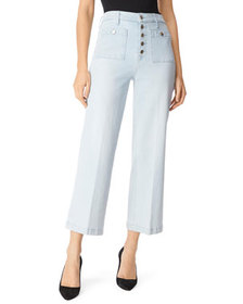 J Brand Joan High-Rise Cropped Wide-Leg Jeans w/ P