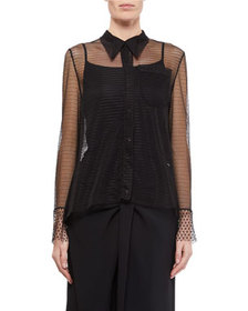 Roland Mouret Lace Tulle Long-Sleeve Top