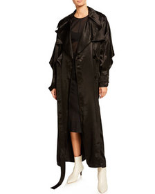 Thierry Mugler Satin Tie-Front Long-Sleeve Trench