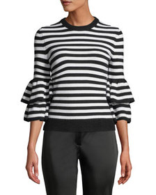 Michael Kors Collection Cashmere-Striped Tiered-Sl