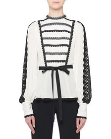 Andrew Gn Long-Sleeve Lace-Striped Ribbon Waist Bl