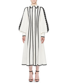 Andrew Gn Blouson-Sleeve Lace-Trimmed Shirt Dress