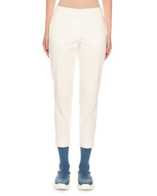 Agnona Mid-Rise Stretch Cotton Slim-Leg Pants