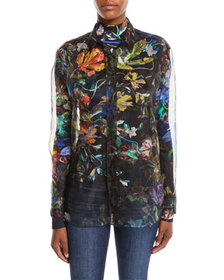 Thierry Mugler Long-Sleeve Button-Down 3-D Floral-