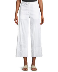 Theory Fluid Cropped Wide-Leg Pants