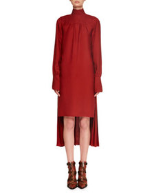 Chloe Turtleneck Long-Sleeve Pleated-Back Silk Cre