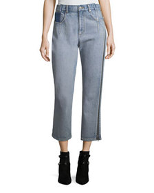 3.1 Phillip Lim Straight-Leg Cropped Jeans with Si
